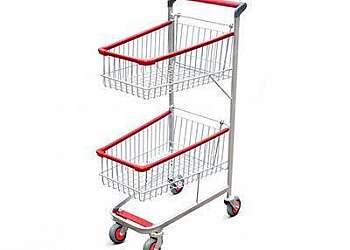 Carrinho de supermercado dobrável duas cestas